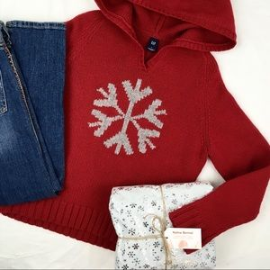 Gap Supersoft Hooded Sweater w/ Snowflake Graphic
